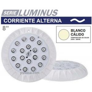 Lámpara LED para Piscinas serie Luminus marca Panda, Blanco Cálido, 25Watts, 12 VCA, Plástico ABS, Diámetro 8