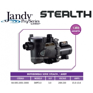 Motobomba STEALTH  Modelo SHPF3.0, 3HP, 1F, 230 Volts - Jandy