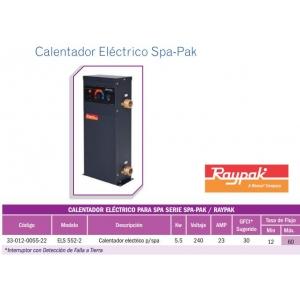 Calentador Eléctrico para SPA . 5.5KW. Modelo. ELS552-2. Raypak