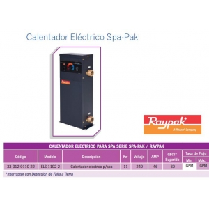 Calentador Eléctrico para SPA . 11KW. Modelo. ELS 1102-2. Raypak