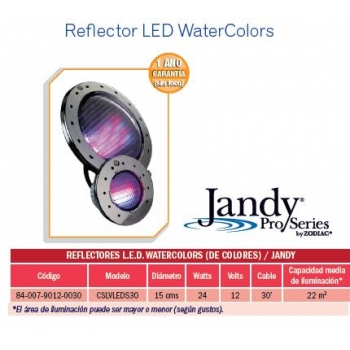 Reflector LED WaterColors. Modelo CSLVLEDS30. Jandy
