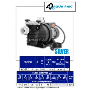 Motobomba para Piscina SILVER de Aqua Pak, 3/4 Hp, 115 Volts, 1 Fase