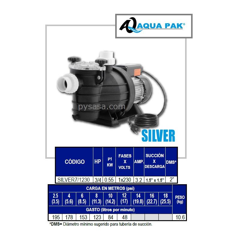 Motobomba para Piscina SILVER de Aqua Pak, 3/4 Hp, 230 Volts, 1 Fase