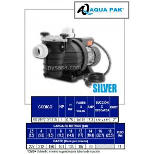 Motobomba para Piscina SILVER de Aqua Pak, 1 Hp, 115 Volts, 1 Fase