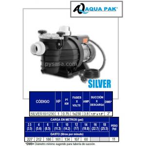 Motobomba para Piscina SILVER de Aqua Pak, 1 Hp, 230 Volts, 1 Fase