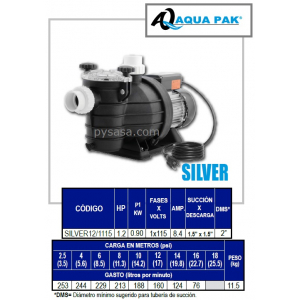 Motobomba para Piscina SILVER de Aqua Pak, 1.2 Hp, 115 Volts, 1 Fase