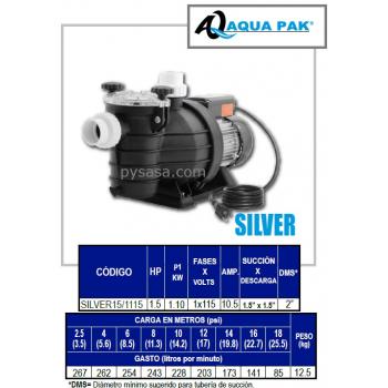 Motobomba para Piscina SILVER de Aqua Pak, 1.5 Hp, 115 Volts, 1 Fase