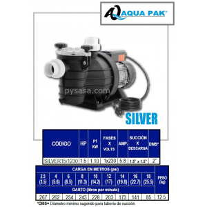 Motobomba para Piscina SILVER de Aqua Pak, 1.5 Hp, 230 Volts, 1 Fase