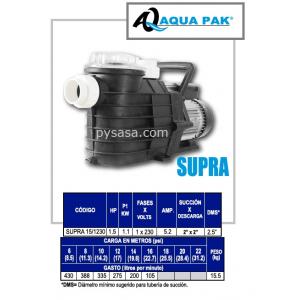 Motobomba para Piscina SUPRA de Aqua Pak, 1.5 Hp, 230 Volts, 1 Fase