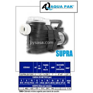 Motobomba para Piscina SUPRA de Aqua Pak, 2 Hp, 230 Volts, 1 Fase
