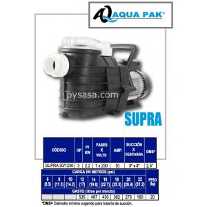 Motobomba para Piscina SUPRA de Aqua Pak, 3 Hp, 230 Volts, 1 Fase