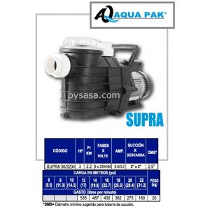 Motobomba para Piscina SUPRA de Aqua Pak, 3 Hp, 230/460 Volts, 3 Fases