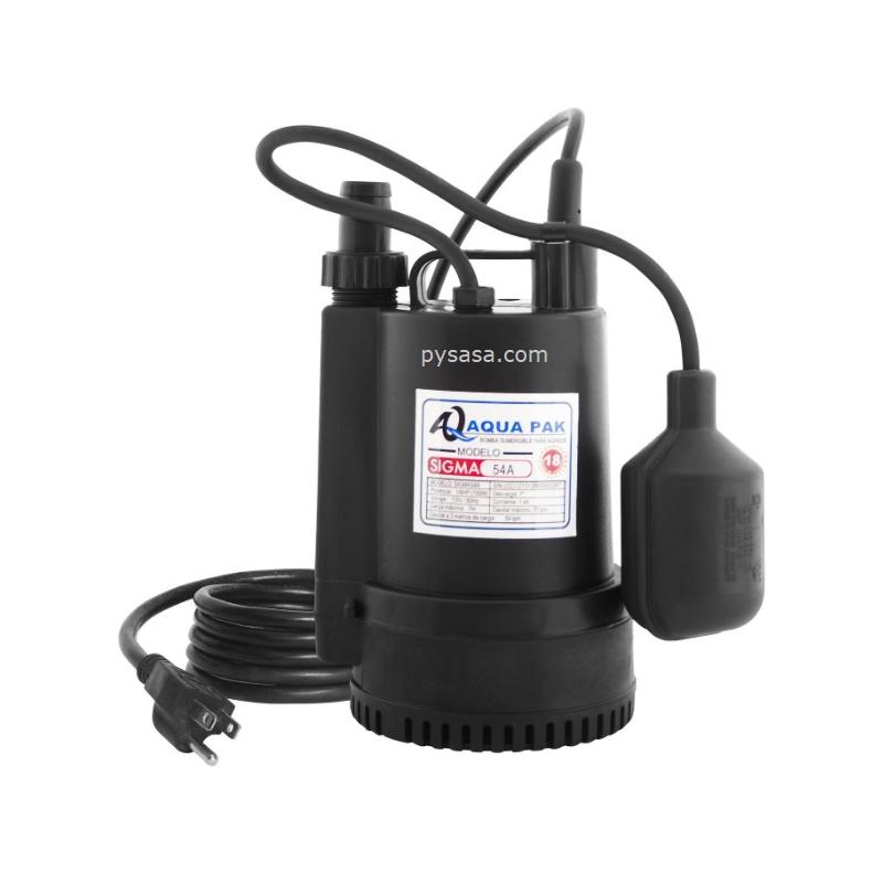 Bomba sumergible para Achique marca Aqua Pak, 1/6Hp, 115Volts