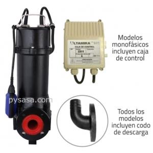 Motobomba sumergible Trituradora Altamira, 1.5Hp, 1Fase, 220Volts, Descarga 1.5