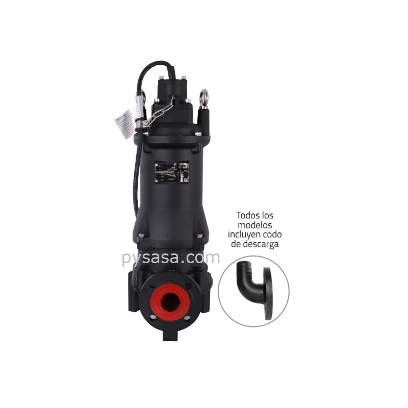 Motobomba sumergible Trituradora Altamira, 7.5 Hp, 3 Fases, 230 Volts, Descarga 2