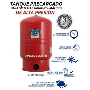 Tanque precargado vertical de diafragma marca Altamira, Serie XH, para alta presión 232psi, 40 Galones