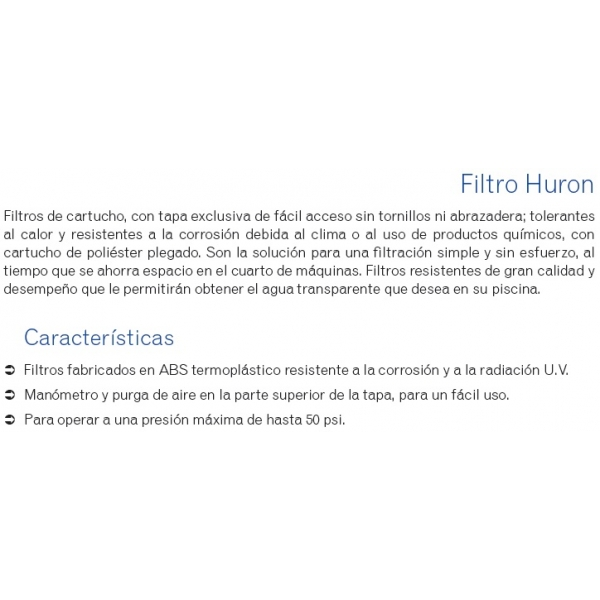 Filtro Huron 70Ft2, Modelo CH70