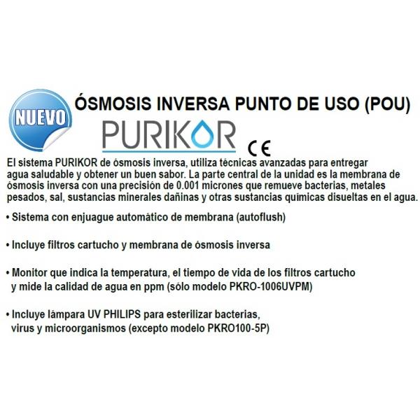 Osmosis Inversa Modelo:  PKRO100-6UVPM, para 100 Galones por día, 6 procesos