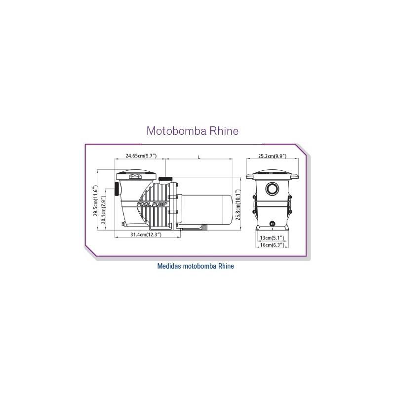 Motobomba RHINE DOBLE VELOCIDAD, 3/4 HP, Modelo 7RI-2  - Inter Water