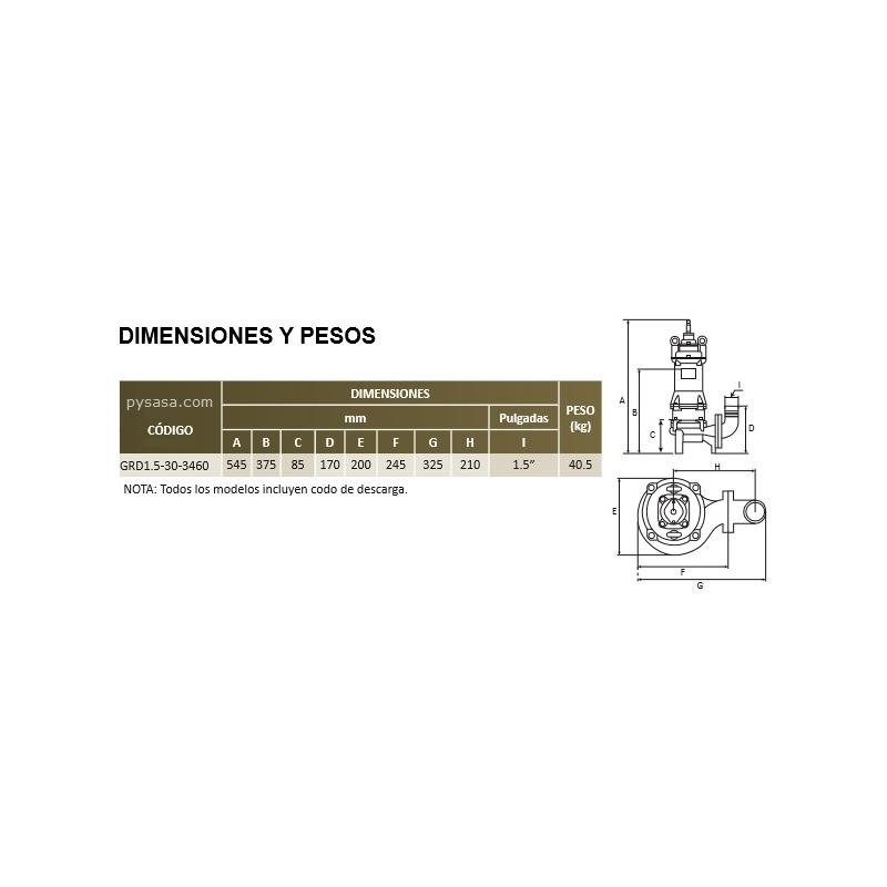 Motobomba sumergible Trituradora Altamira, 3 Hp, 3 Fases, 460 Volts, Descarga 1.5