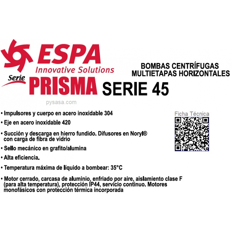 Bomba Centrifuga Multietapas ESPA  Serie PRISMA45N-2/1220, 2HP