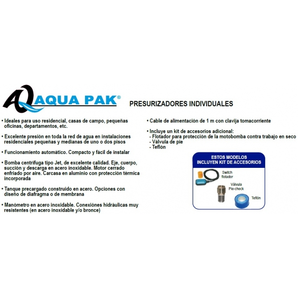 Presurizador Aqua Pak, Pres-PET08-24L, 0.8 HP, 127Volts, 29Lpm