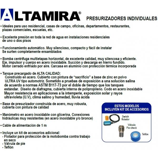 Presurizador ALTAMIRA, Pres-P15315-45X, 3/4 HP, 115Volts, 61Lpm