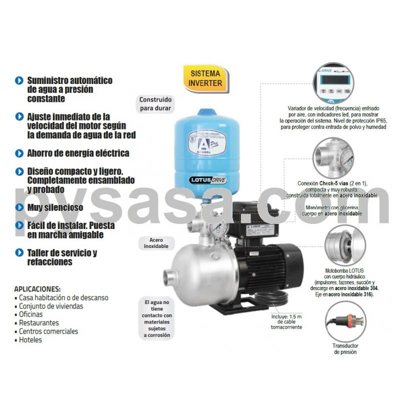 Presurizador LOTUS-DRIVE, LOTUSD50-4/MT230, 0.75Hp, 230Volts, 55 Lpm