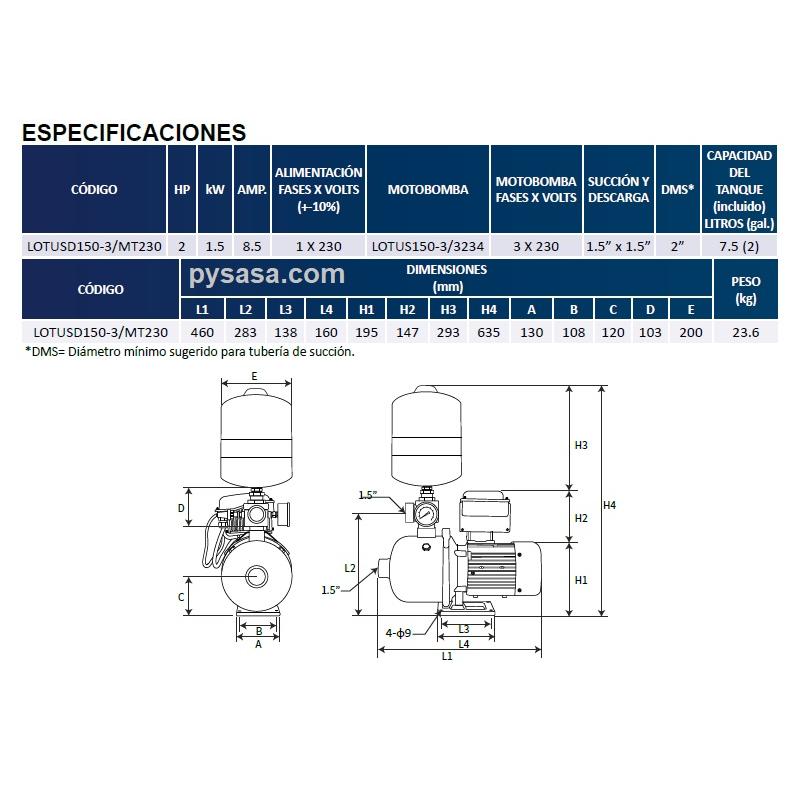 Presurizador LOTUS-DRIVE, LOTUSD150-3/MT230, 2Hp, 230Volts, 250 Lpm