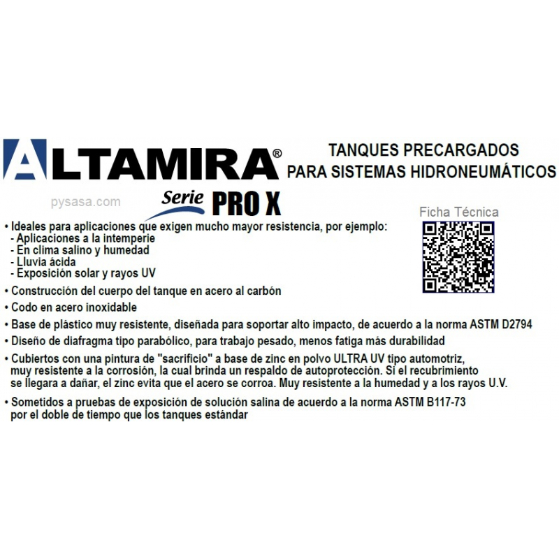 Tanque  Precargados ALTAMIRA ALTAPRO XLB65, de 65 Galones (125psi)