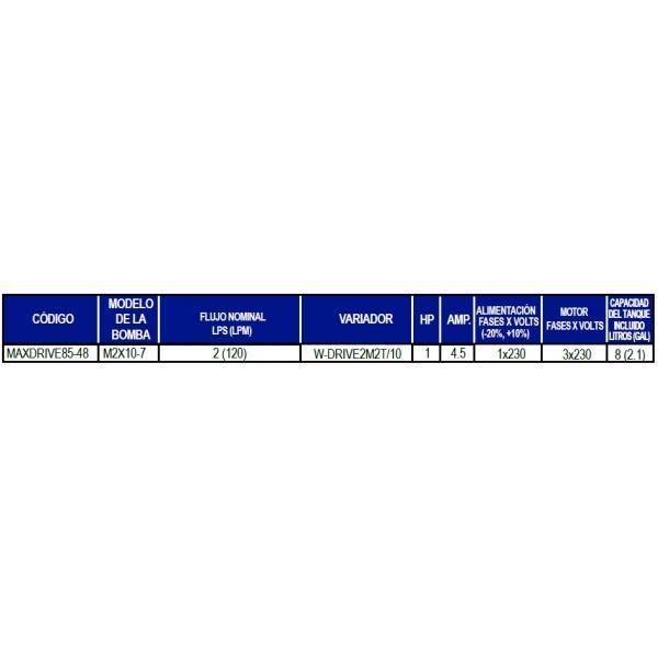 Presurizador Compacto Sumergible AQUAPAK, MAXDRIVE85-48, 1Hp, 230Volts, 1Fase, 100 Lpm